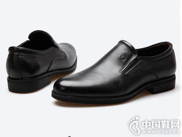 皮尔卡丹新款真皮男士正装皮鞋德比鞋