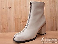 18冬款Eiaimi依百媚胎牛皮粗跟方�^短靴