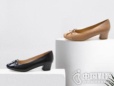 fed2018新款秋季圆头蝴蝶结高跟鞋