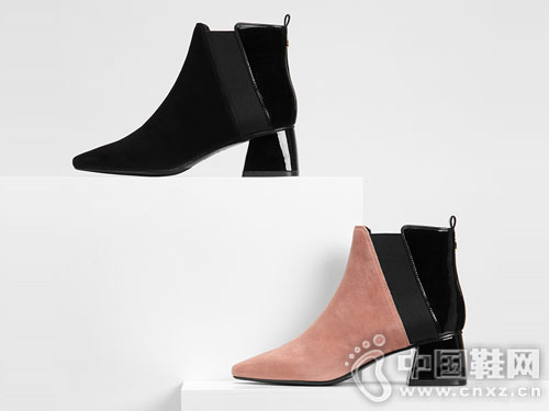 NDUL圆漾2018冬季新品拼接弹力短靴