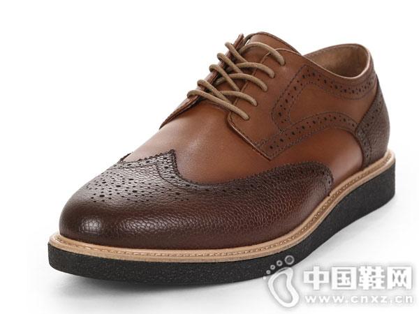 SELECTED思�R德男士新款�L布洛克皮鞋