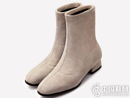 欧罗巴杏色弹力羊绒单靴瘦瘦靴