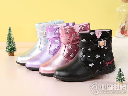 迪士尼童鞋皮靴2018冬季新款中筒靴