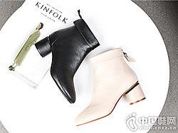珂卡芙短靴女2018新款冬粗跟�W�t高跟靴子
