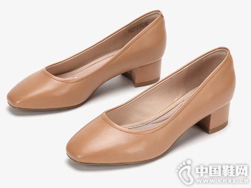 shoebox鞋柜简约通勤方头中粗跟浅口单鞋