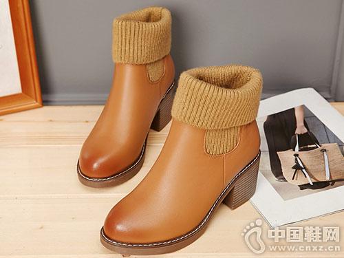 普兰妮秋冬款牛皮短靴加绒里毛线口靴子