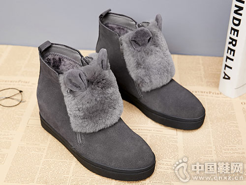 冬季内增高雪地靴普兰妮兔毛平底短靴