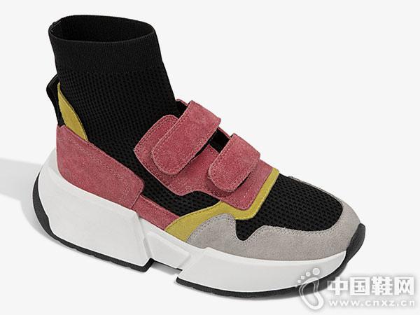 爱米高毛线筒袜套鞋魔术贴厚底休闲鞋