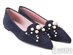 18秋冬新品prettyballerinas珍珠�\口尖�^芭蕾舞鞋