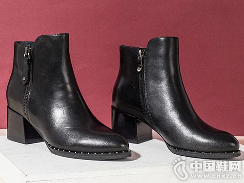 秋冬新款加绒保暖切尔西短靴康莉女鞋