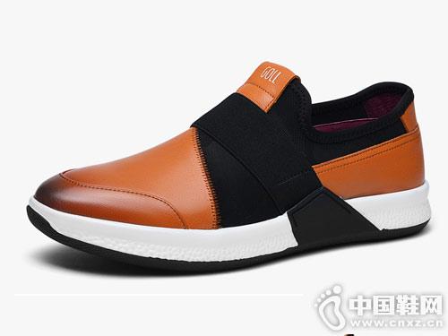 谷尔真皮男鞋秋季休闲鞋懒人鞋