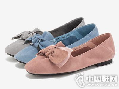 2019春新款天美意蝴蝶羊绒女鞋