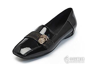 Hongkee红科方头女鞋低跟内增高浅口鞋