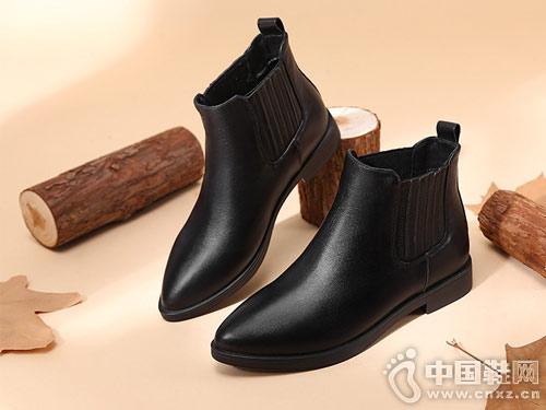 新款切尔西短靴高蒂粗跟百搭女靴