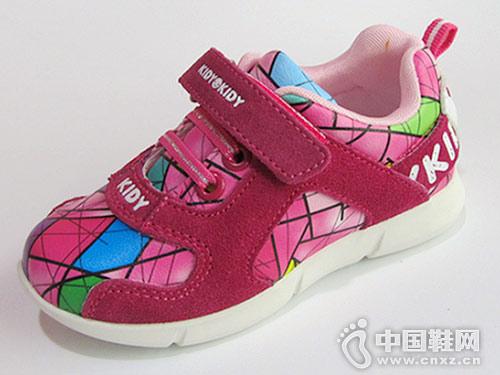 女童运动鞋卡迪童鞋皮面舒适防滑