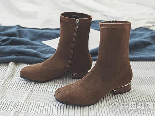 瘦瘦靴女短靴2018新款毅雅粗跟百搭