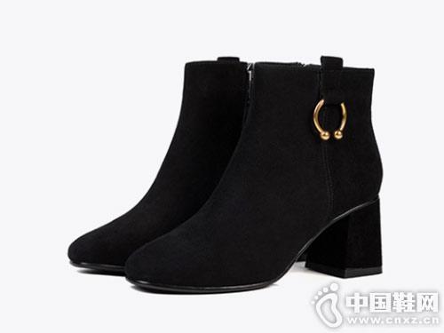 2018秋冬新款Fondberyl菲伯丽尔粗高跟短靴