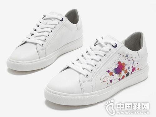 新款小白鞋女休闲鞋2018百思图女鞋