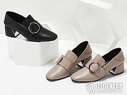 杜拉拉方头粗跟深口单鞋18春新款