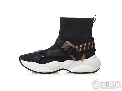 哥弟女鞋2019春季新品厚底飞织彩带休闲鞋