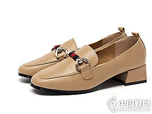 巨圣鞋子2018新款粗跟一脚蹬乐福鞋