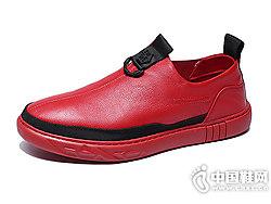 2018男款红色潮流邦霸新款休闲皮鞋