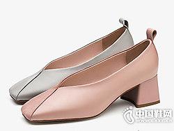 CNE2018秋季新款拼接平底鞋粗跟奶奶鞋