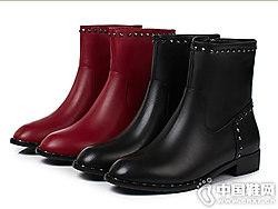 丹露靴子女2018新款短靴侧边拉链