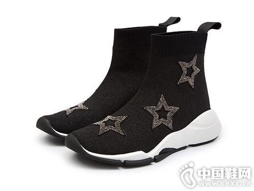 太阳舞2018冬季新时尚闪亮星星款袜靴短靴