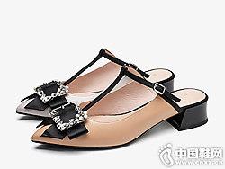 新款尖头粗跟蝴蝶结扣饰莱尔斯丹穆勒拖鞋