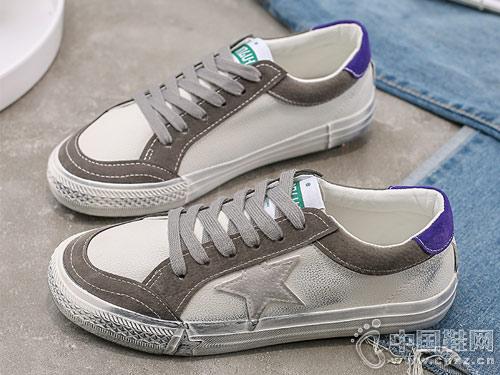 新款百搭撞色复古丑萌小白鞋环球2019板鞋