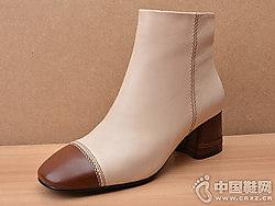 依百媚新款胎牛皮拼色方头粗高跟短靴