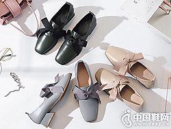 真皮方头蝴蝶结中跟欧情派小皮鞋