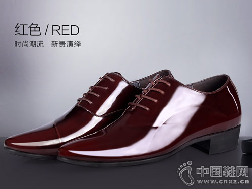 GONY高尼内增高鞋高漆皮商务正装皮鞋