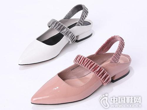 迪朵2019夏新款甜美低跟時尚百搭單鞋