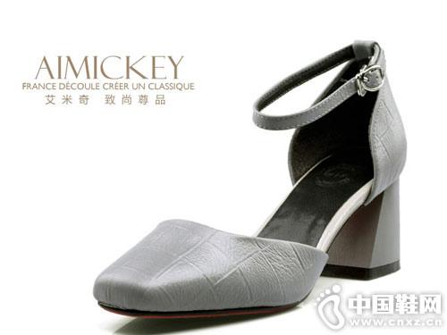 新款女鞋时尚粗高跟艾米奇中空单鞋