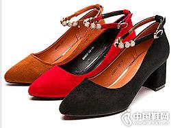新款时尚女鞋一字扣百搭展风