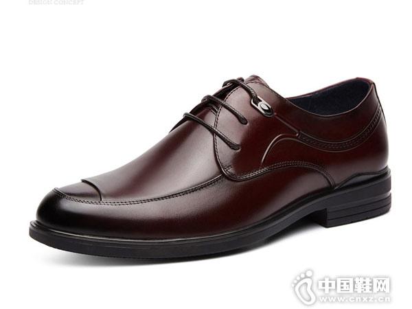 老爺車皮鞋男真皮透氣系帶德比鞋