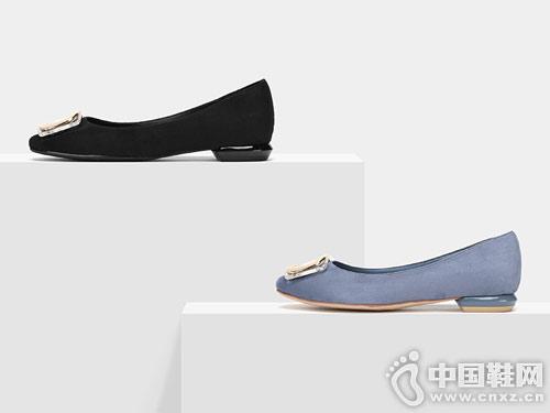 方扣浅口小方头通勤船鞋SHOEBOX 鞋柜新款