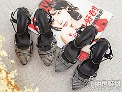 韩版格纹尖头凉鞋普兰妮包头中跟鞋
