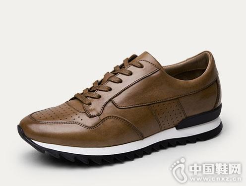 爱得堡男士运动鞋复古休闲皮鞋百搭