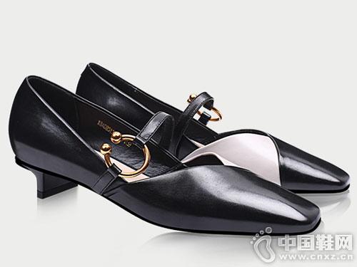 香閣兒新款時尚淺口拼色絆帶方頭鞋