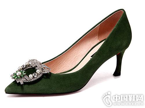 万里马夏季新款女鞋时尚水钻细跟高跟鞋