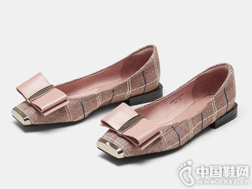 2019新款色非春季低跟百搭蝴蝶结单鞋
