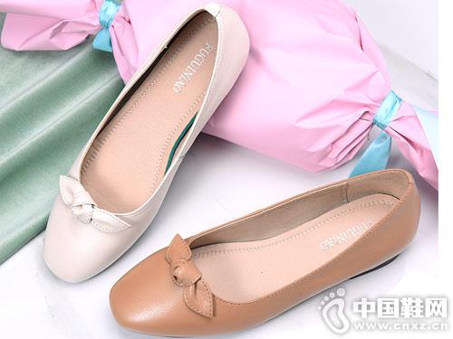 富貴鳥女鞋2019春季新款韓版蝴蝶結單鞋