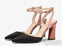 aee爱意女鞋新款OL浅口尖头鞋一字扣带单鞋