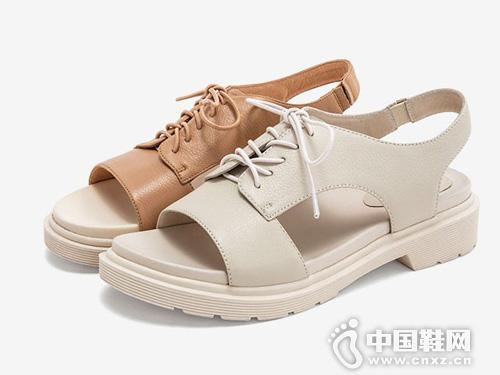 2019夏Tata他她牛皮革綁帶休閑女涼鞋