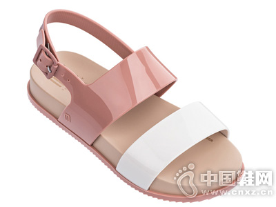 Melissa梅麗莎19新寬帶平底撞色涼鞋