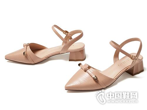 2019新款夏季蝴蝶结粗跟戈美其包头凉鞋