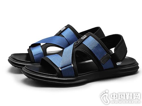 策恩 男士凉鞋夏季透气 拼接弹力布露趾凉鞋